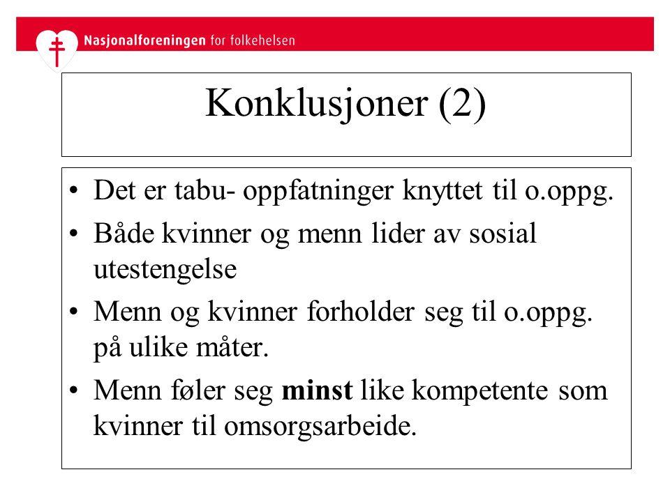 Konklusjoner (2) Det er tabu- oppfatninger knyttet til o.oppg.