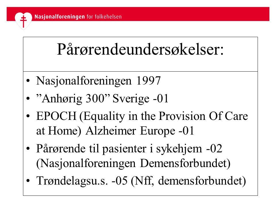 Pårørendeundersøkelser: Nasjonalforeningen 1997 Anhørig 300 Sverige -01 EPOCH (Equality in the Provision Of Care at Home) Alzheimer Europe -01 Pårørende til pasienter i sykehjem -02 (Nasjonalforeningen Demensforbundet) Trøndelagsu.s.