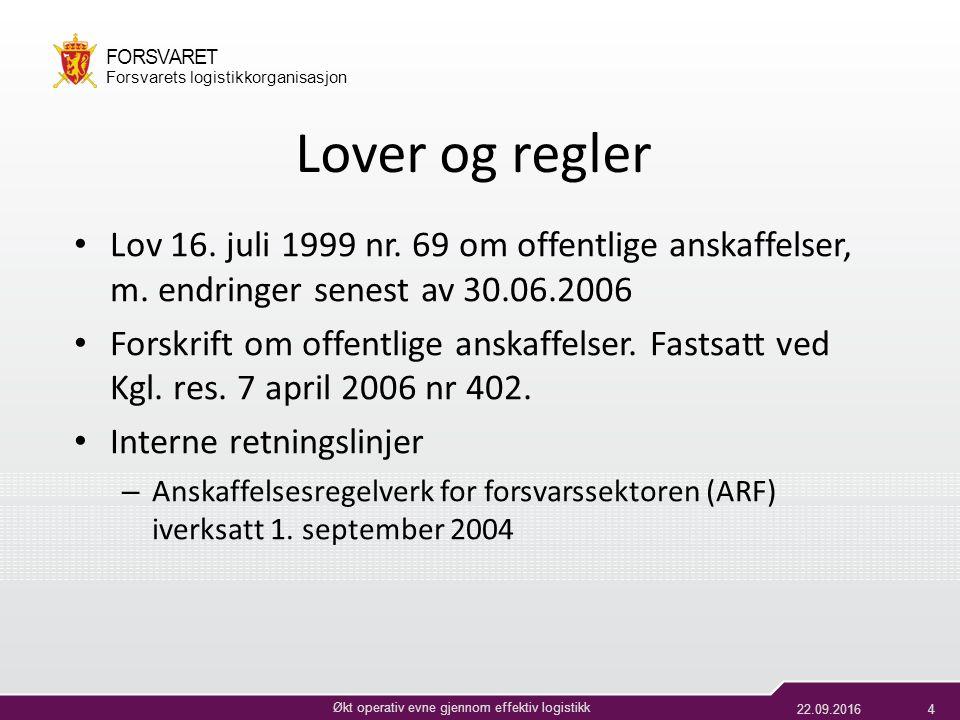 22.09.20164 Økt operativ evne gjennom effektiv logistikk FORSVARET Forsvarets logistikkorganisasjon Lover og regler Lov 16.