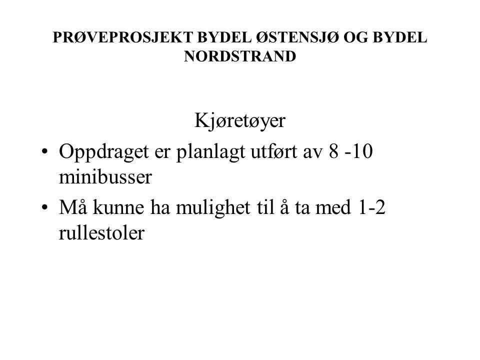 PRØVEPROSJEKT BYDEL ØSTENSJØ OG BYDEL NORDSTRAND Kjøretøyer Oppdraget er planlagt utført av 8 -10 minibusser Må kunne ha mulighet til å ta med 1-2 rullestoler