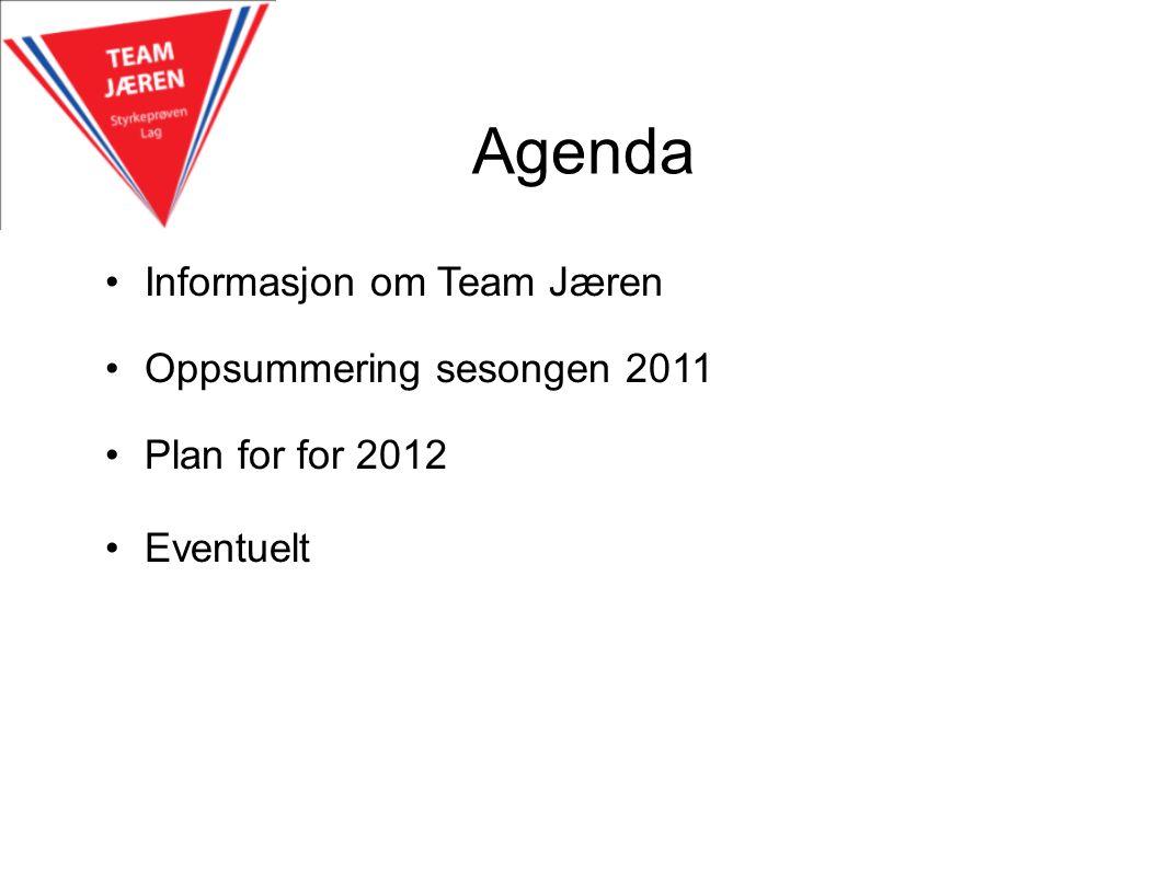 Agenda Informasjon om Team Jæren Oppsummering sesongen 2011 Plan for for 2012 Eventuelt