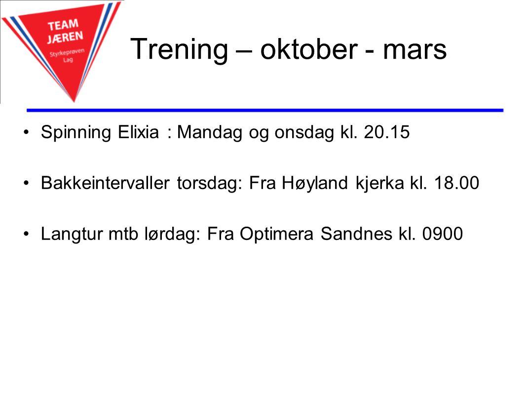 Trening – oktober - mars Spinning Elixia : Mandag og onsdag kl.