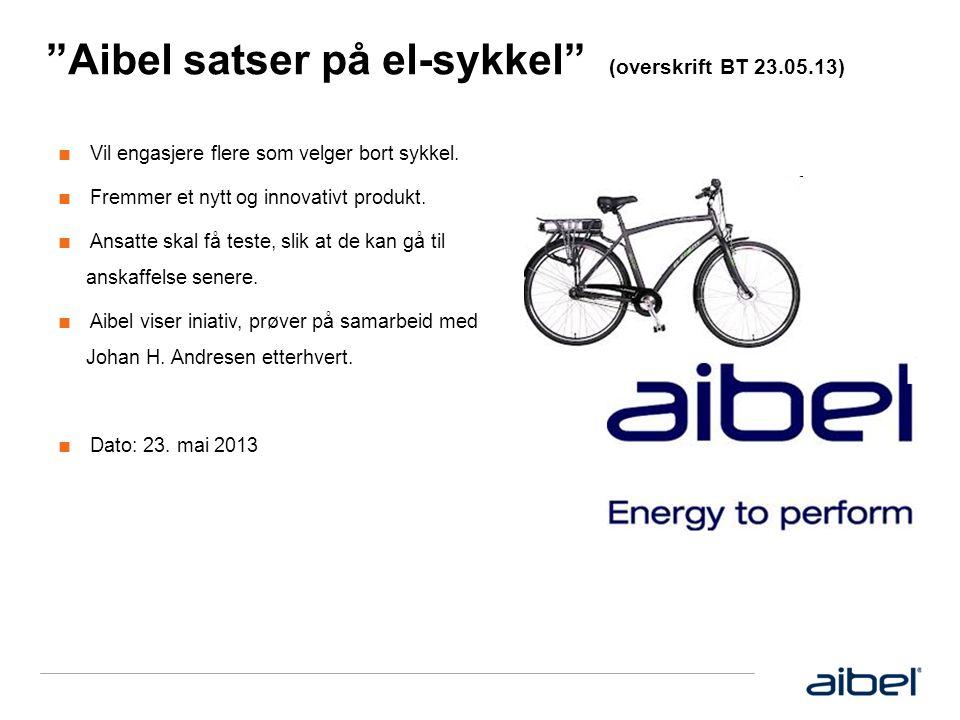 Aibel satser på el-sykkel (overskrift BT 23.05.13) ■ Vil engasjere flere som velger bort sykkel.