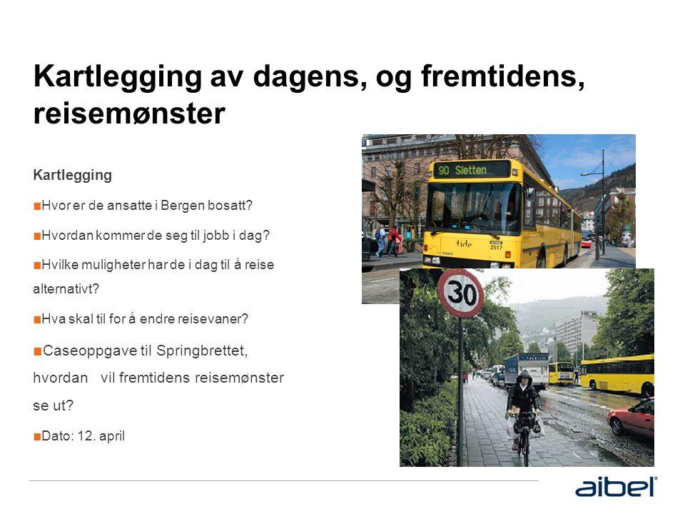 Kartlegging av dagens, og fremtidens, reisemønster Kartlegging ■ Hvor er de ansatte i Bergen bosatt.