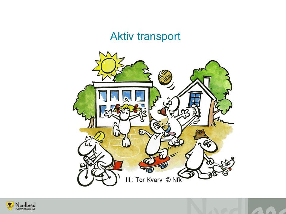 Definisjon av Aktiv transport Aktiv transport omfatter gåing, sykling på reiser som uansett skal gjennomføres i hverdagen, for eksempel til og fra skole og jobb, på handleturer og følgereiser (til barnehage, trening, osv.
