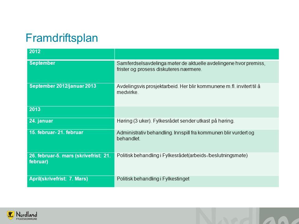 Framdriftsplan 2012 SeptemberSamferdselsavdelinga møter de aktuelle avdelingene hvor premiss, frister og prosess diskuteres nærmere.