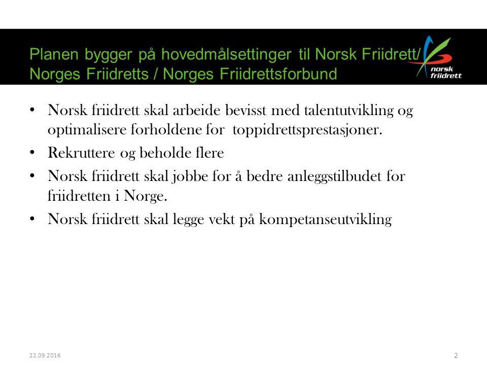 Norsk friidrett skal arbeide bevisst med talentutvikling og optimalisere forholdene for toppidrettsprestasjoner. Rekruttere og beholde flere Norsk fri
