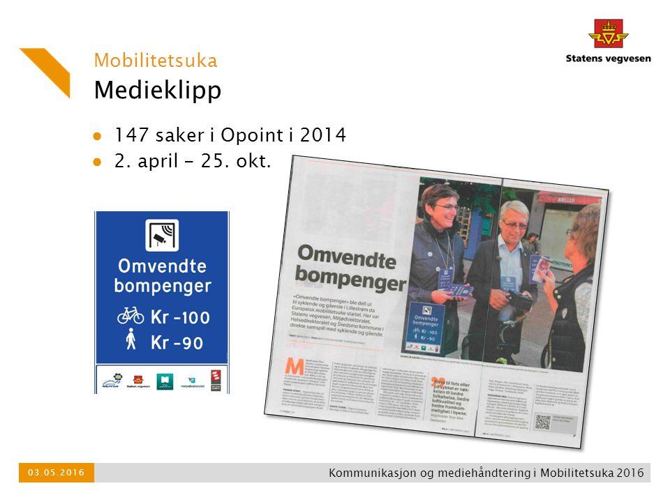 Medieklipp Mobilitetsuka ● 147 saker i Opoint i 2014 ● 2. april - 25. okt. Kommunikasjon og mediehåndtering i Mobilitetsuka 2016 03.05.2016