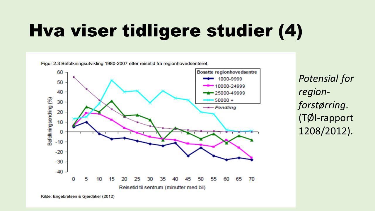Hva viser tidligere studier (4) Potensial for region- forstørring. (TØI‐rapport 1208/2012).