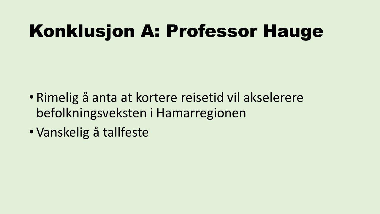 Konklusjon A: Professor Hauge Rimelig å anta at kortere reisetid vil akselerere befolkningsveksten i Hamarregionen Vanskelig å tallfeste