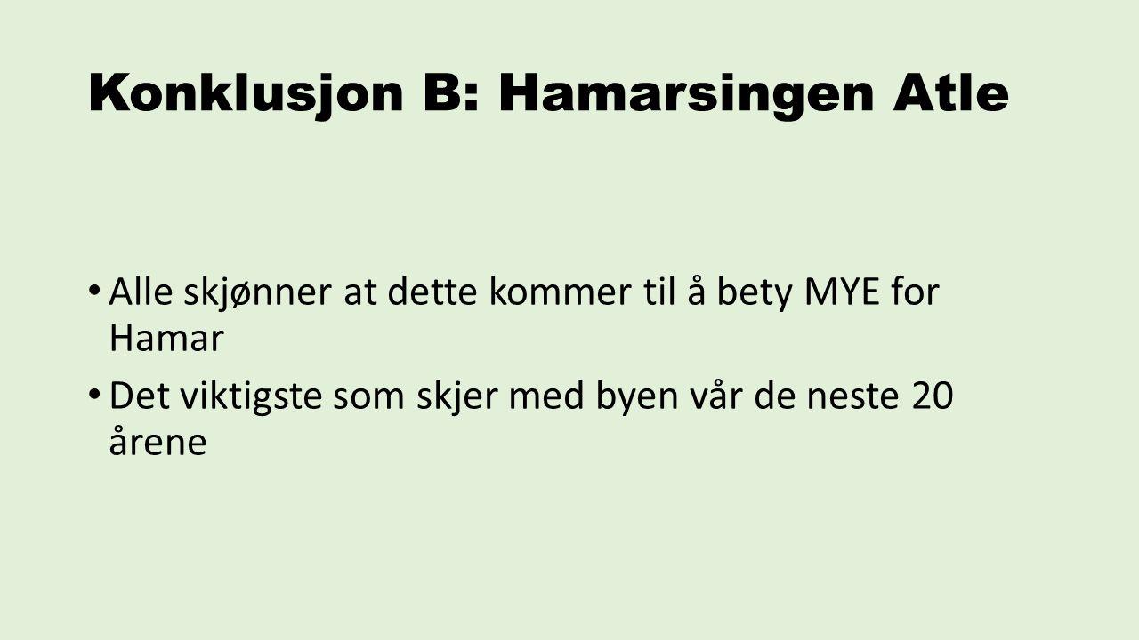 Konklusjon B: Hamarsingen Atle Alle skjønner at dette kommer til å bety MYE for Hamar Det viktigste som skjer med byen vår de neste 20 årene