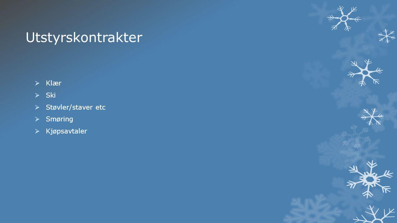 Utstyrskontrakter  Klær  Ski  Støvler/staver etc  Smøring  Kjøpsavtaler