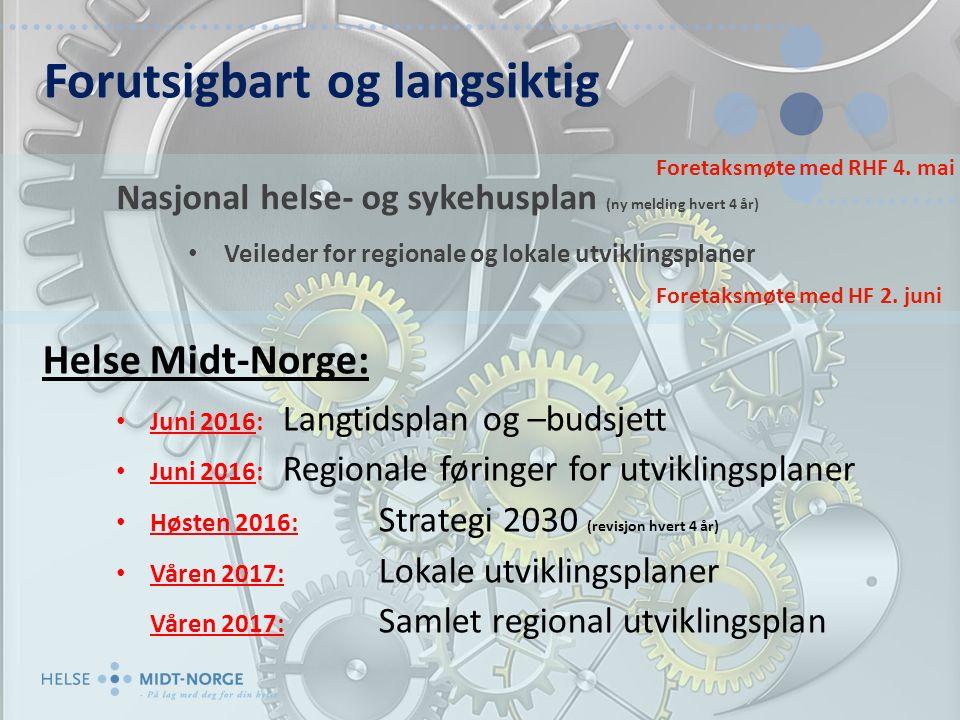 Nasjonal helse- og sykehusplan (ny melding hvert 4 år) Veileder for regionale og lokale utviklingsplaner Forutsigbart og langsiktig Foretaksmøte med RHF 4.
