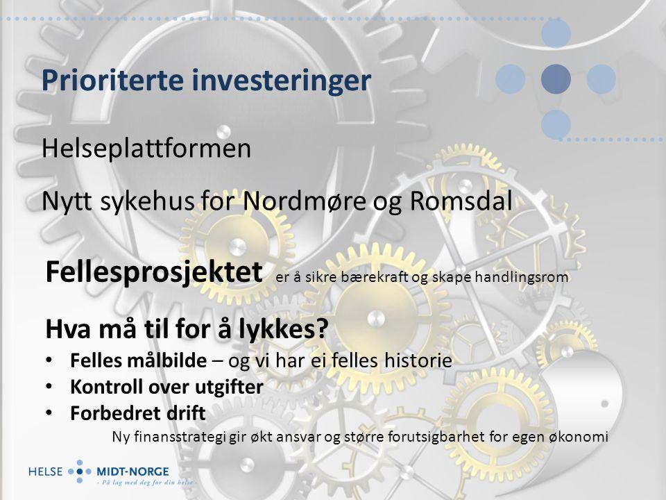 Prioriterte investeringer Helseplattformen Nytt sykehus for Nordmøre og Romsdal Fellesprosjektet er å sikre bærekraft og skape handlingsrom Hva må til for å lykkes.