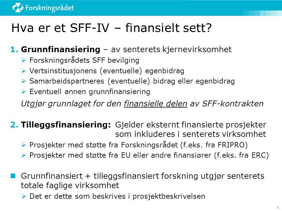 4 Hva er et SFF-IV – finansielt sett? 1.Grunnfinansiering – av senterets kjernevirksomhet  Forskningsrådets SFF bevilging  Vertsinstitusjonens (even