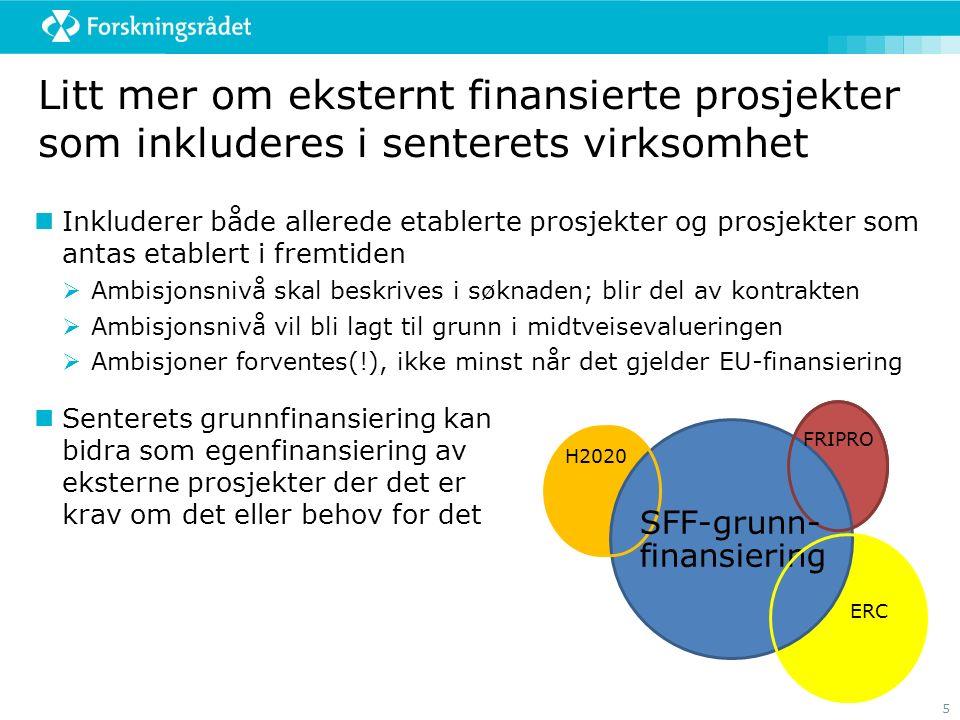 5 Litt mer om eksternt finansierte prosjekter som inkluderes i senterets virksomhet Inkluderer både allerede etablerte prosjekter og prosjekter som an