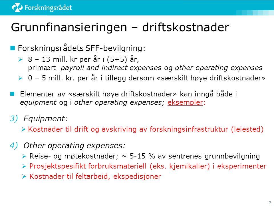 7 Grunnfinansieringen – driftskostnader Forskningsrådets SFF-bevilgning:  8 – 13 mill. kr per år i (5+5) år, primært payroll and indirect expenses og