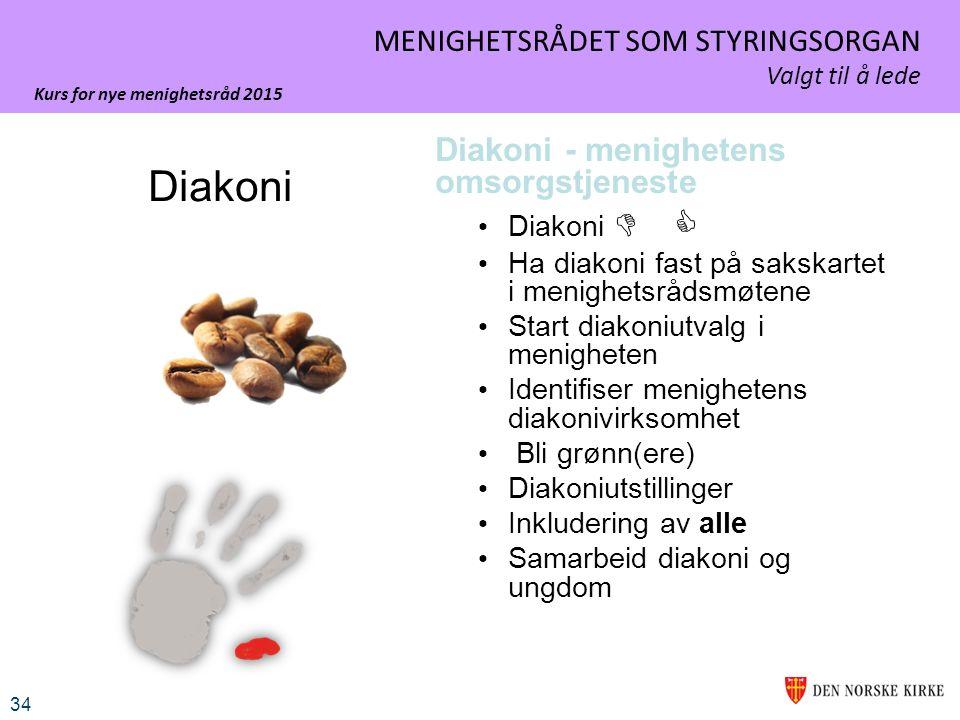 Kurs for nye menighetsråd 2015 34 MENIGHETSRÅDET SOM STYRINGSORGAN Valgt til å lede Diakoni - menighetens omsorgstjeneste Diakoni  Ha diakoni fast