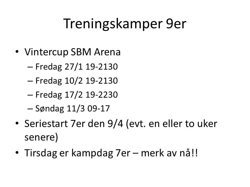 Treningskamper 9er Vintercup SBM Arena – Fredag 27/1 19-2130 – Fredag 10/2 19-2130 – Fredag 17/2 19-2230 – Søndag 11/3 09-17 Seriestart 7er den 9/4 (evt.