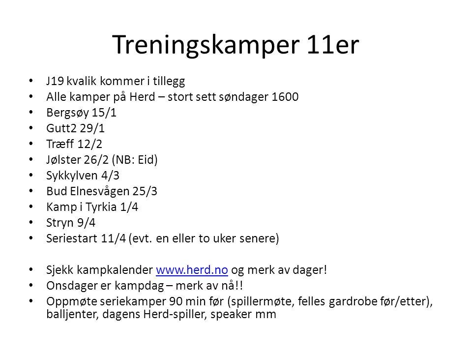 Treningskamper 11er J19 kvalik kommer i tillegg Alle kamper på Herd – stort sett søndager 1600 Bergsøy 15/1 Gutt2 29/1 Træff 12/2 Jølster 26/2 (NB: Eid) Sykkylven 4/3 Bud Elnesvågen 25/3 Kamp i Tyrkia 1/4 Stryn 9/4 Seriestart 11/4 (evt.