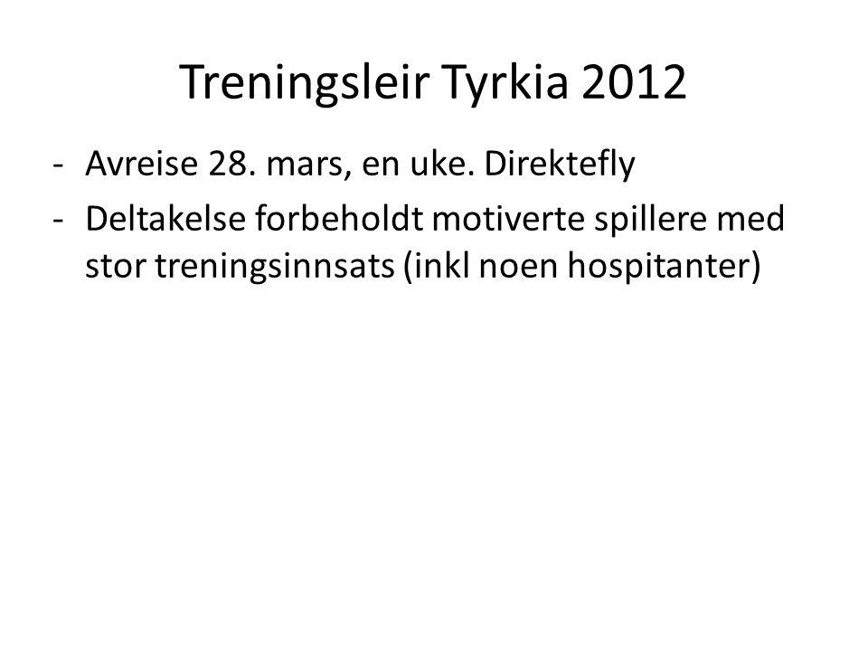 Treningsleir Tyrkia 2012 -Avreise 28. mars, en uke.