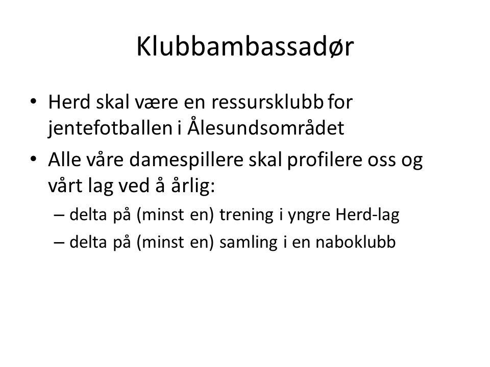 Klubbambassadør Herd skal være en ressursklubb for jentefotballen i Ålesundsområdet Alle våre damespillere skal profilere oss og vårt lag ved å årlig: – delta på (minst en) trening i yngre Herd-lag – delta på (minst en) samling i en naboklubb