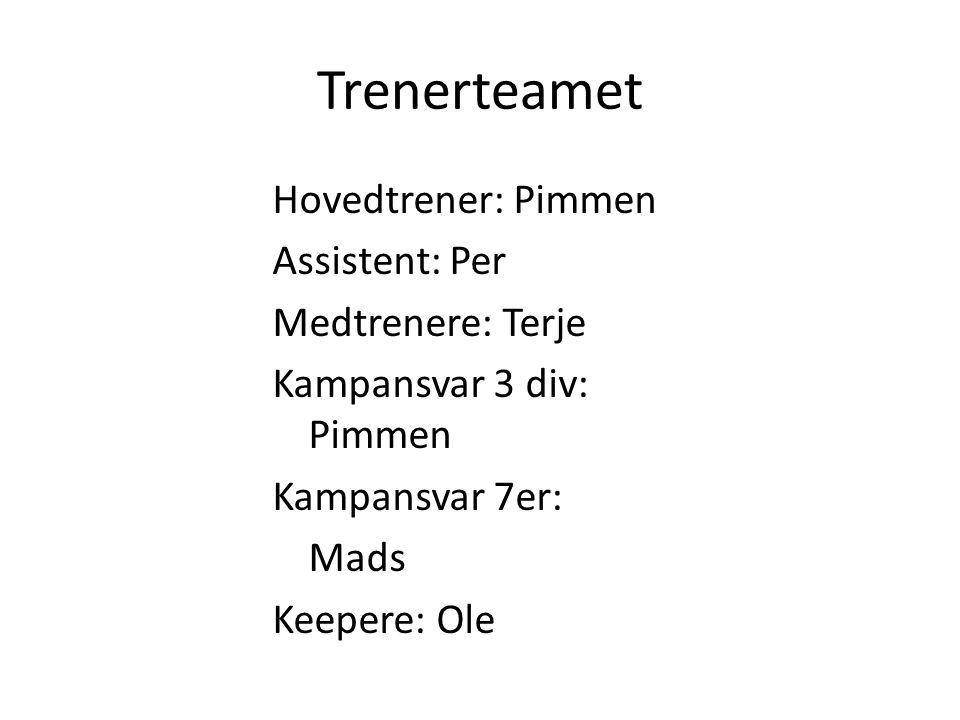 Trenerteamet Hovedtrener: Pimmen Assistent: Per Medtrenere: Terje Kampansvar 3 div: Pimmen Kampansvar 7er: Mads Keepere: Ole