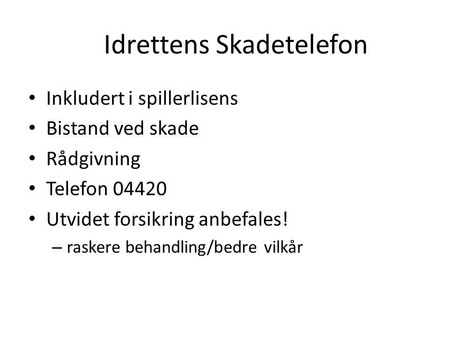 Idrettens Skadetelefon Inkludert i spillerlisens Bistand ved skade Rådgivning Telefon 04420 Utvidet forsikring anbefales.