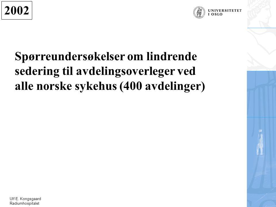Ulf E. Kongsgaard Radiumhospitalet 2002 Spørreundersøkelser om lindrende sedering til avdelingsoverleger ved alle norske sykehus (400 avdelinger)
