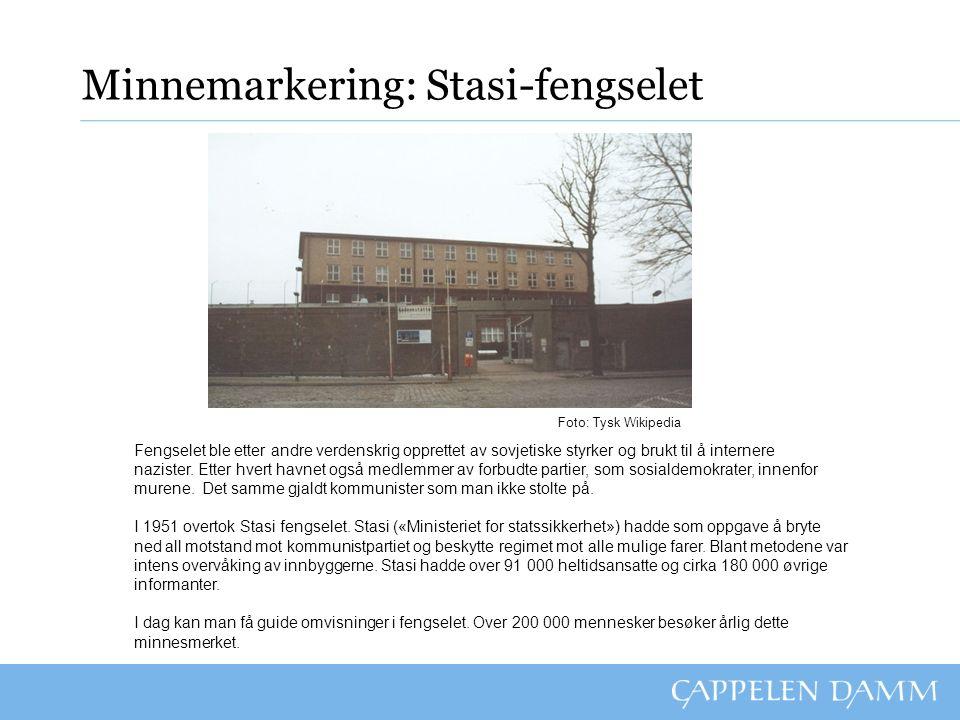 Minnemarkering: Stasi-fengselet Fengselet ble etter andre verdenskrig opprettet av sovjetiske styrker og brukt til å internere nazister.