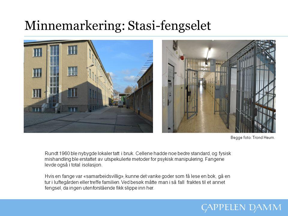 Minnemarkering: Stasi-fengselet Rundt 1960 ble nybygde lokaler tatt i bruk.