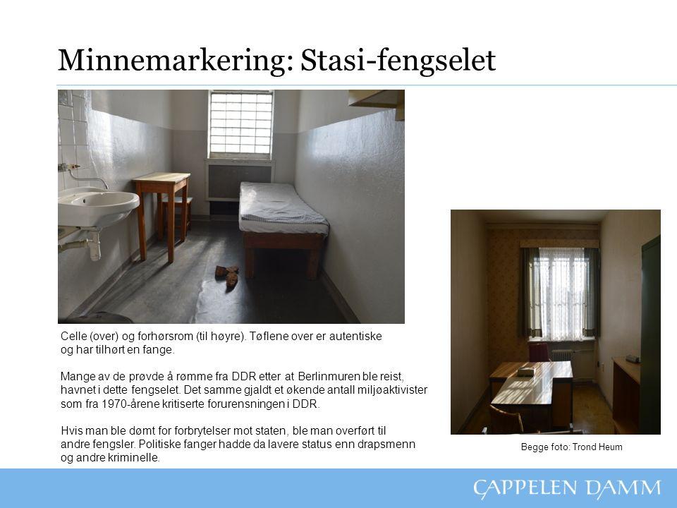 Minnemarkering: Stasi-fengselet Oppgaver: 1.Hvem opprettet fengselet, og til hva.