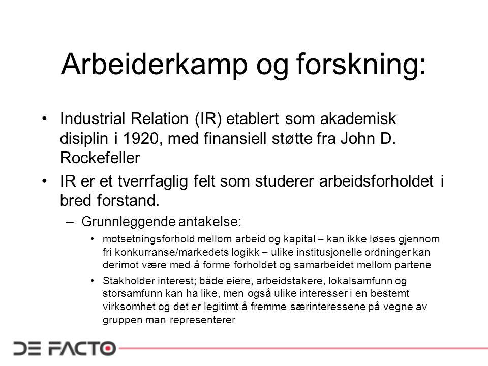 Arbeiderkamp og forskning: Industrial Relation (IR) etablert som akademisk disiplin i 1920, med finansiell støtte fra John D.