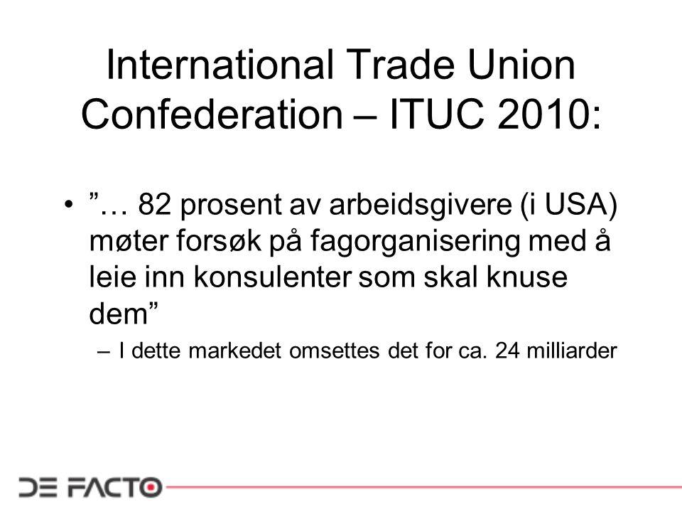 International Trade Union Confederation – ITUC 2010: … 82 prosent av arbeidsgivere (i USA) møter forsøk på fagorganisering med å leie inn konsulenter som skal knuse dem –I dette markedet omsettes det for ca.