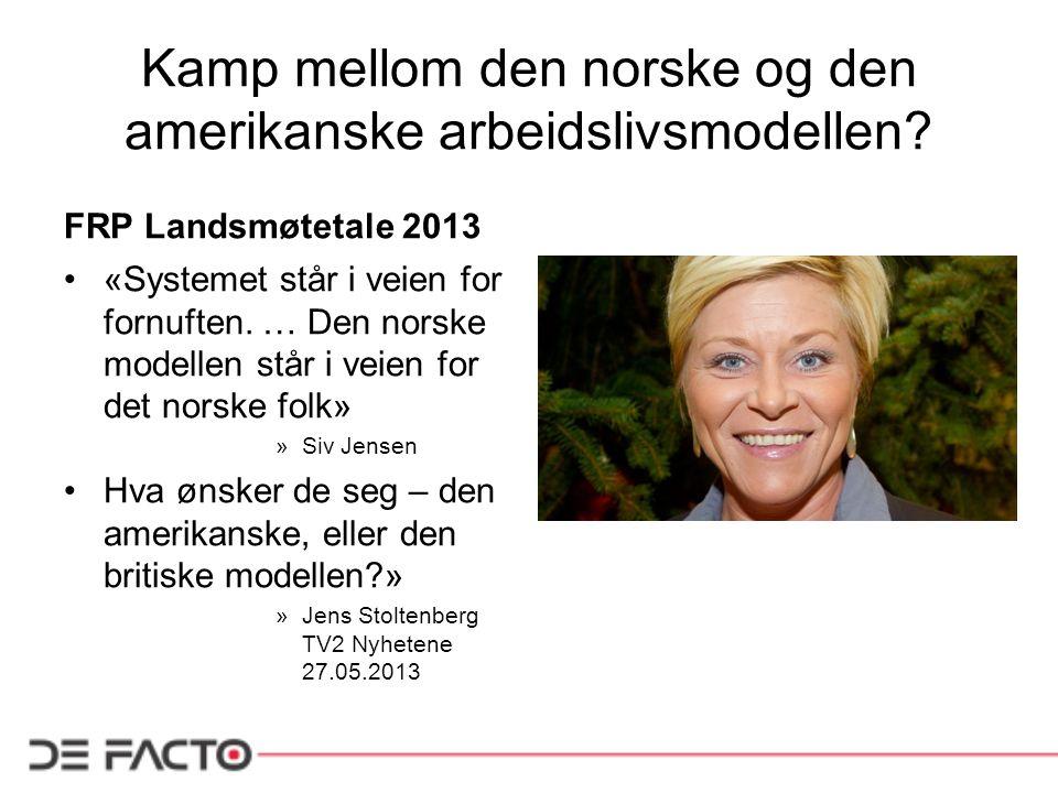 Kamp mellom den norske og den amerikanske arbeidslivsmodellen.
