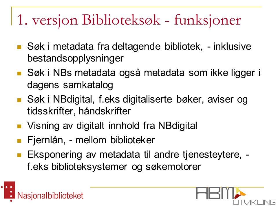 1. versjon Biblioteksøk - funksjoner Søk i metadata fra deltagende bibliotek, - inklusive bestandsopplysninger Søk i NBs metadata også metadata som ik