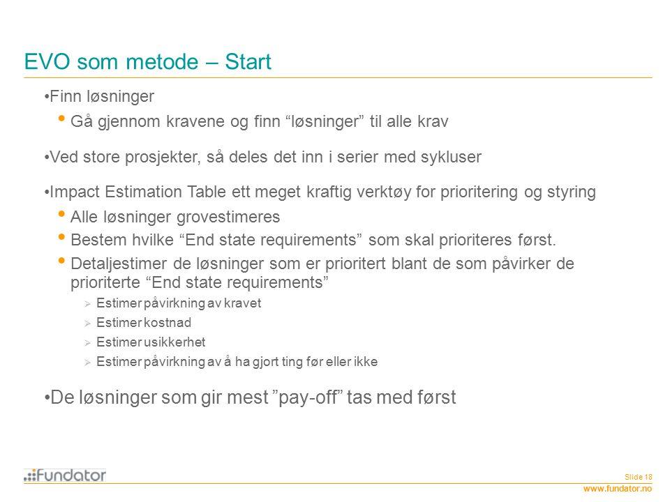 """www.fundator.no EVO som metode – Start Slide 18 Finn løsninger Gå gjennom kravene og finn """"løsninger"""" til alle krav Ved store prosjekter, så deles det"""