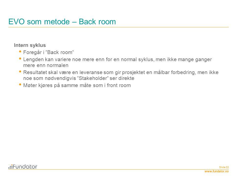 """www.fundator.no EVO som metode – Back room Slide 22 Intern syklus Foregår i """"Back room"""" Lengden kan variere noe mere enn for en normal syklus, men ikk"""