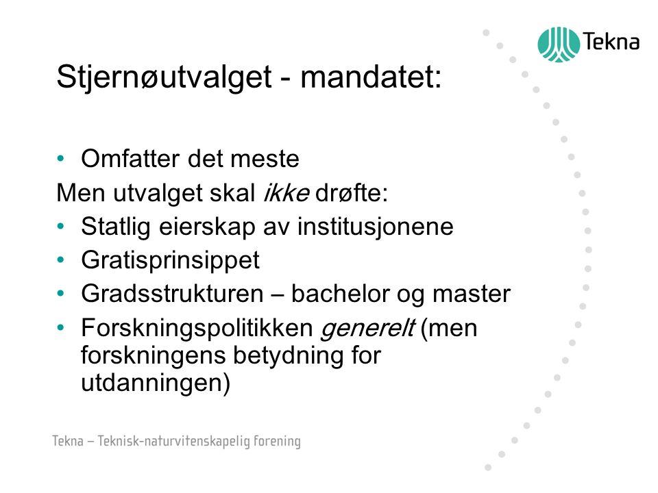 Noen diskusjoner i Stjernøutvalget: Profesjonsutdanning og akademisering Hva skal være høyskolenes oppgave for regional utvikling.