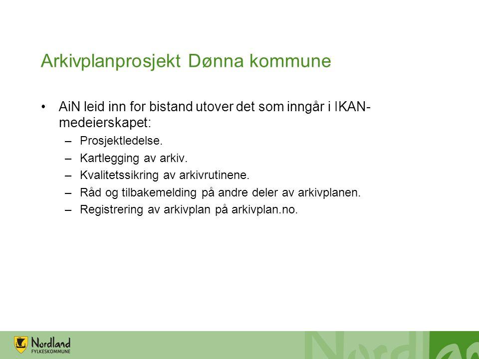 Arkivplanprosjekt Dønna kommune AiN leid inn for bistand utover det som inngår i IKAN- medeierskapet: –Prosjektledelse. –Kartlegging av arkiv. –Kvalit