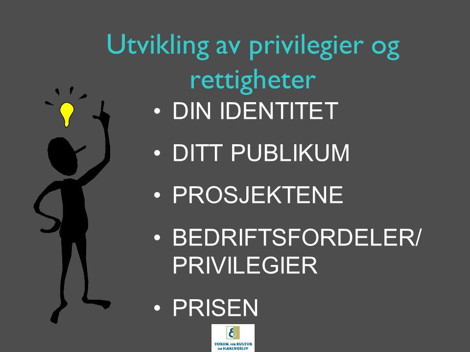 Utvikling av privilegier og rettigheter DIN IDENTITET DITT PUBLIKUM PROSJEKTENE BEDRIFTSFORDELER/ PRIVILEGIER PRISEN