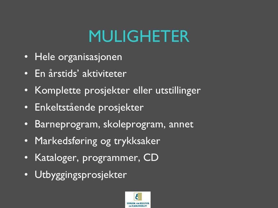 MULIGHETER Hele organisasjonen En årstids' aktiviteter Komplette prosjekter eller utstillinger Enkeltstående prosjekter Barneprogram, skoleprogram, annet Markedsføring og trykksaker Kataloger, programmer, CD Utbyggingsprosjekter