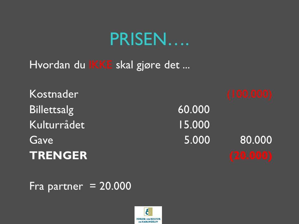 PRISEN…. Hvordan du IKKE skal gjøre det... Kostnader(100.000) Billettsalg60.000 Kulturrådet15.000 Gave5.00080.000 TRENGER(20.000) Fra partner = 20.000