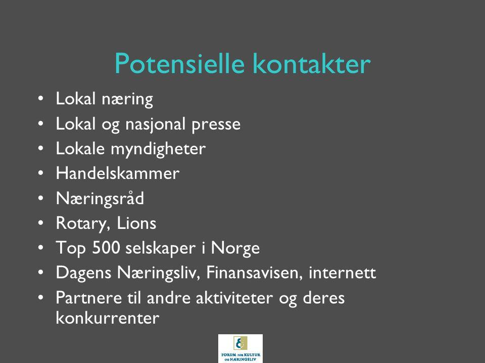Potensielle kontakter Lokal næring Lokal og nasjonal presse Lokale myndigheter Handelskammer Næringsråd Rotary, Lions Top 500 selskaper i Norge Dagens Næringsliv, Finansavisen, internett Partnere til andre aktiviteter og deres konkurrenter