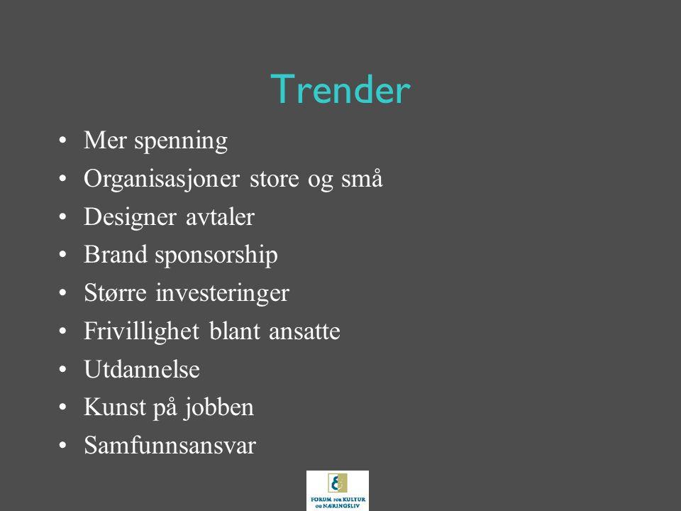 Trender Mer spenning Organisasjoner store og små Designer avtaler Brand sponsorship Større investeringer Frivillighet blant ansatte Utdannelse Kunst på jobben Samfunnsansvar