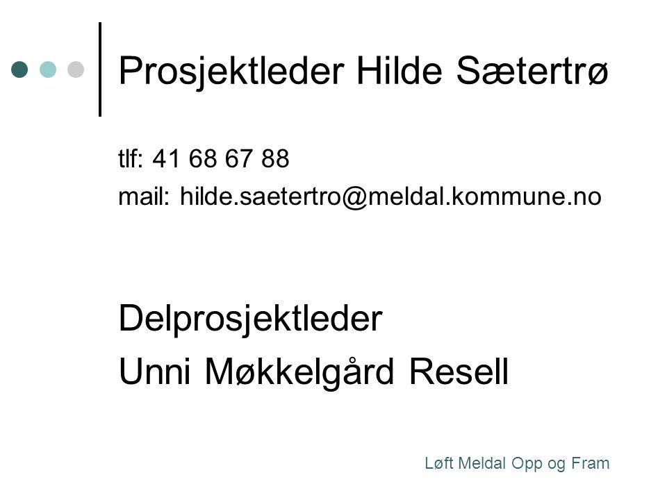 Prosjektleder Hilde Sætertrø tlf: 41 68 67 88 mail: hilde.saetertro@meldal.kommune.no Delprosjektleder Unni Møkkelgård Resell Løft Meldal Opp og Fram