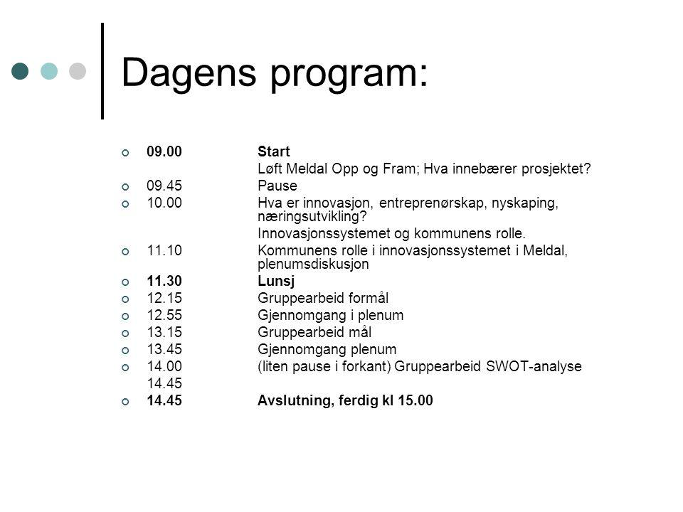 Dagens program: 09.00Start Løft Meldal Opp og Fram; Hva innebærer prosjektet? 09.45Pause 10.00 Hva er innovasjon, entreprenørskap, nyskaping, næringsu