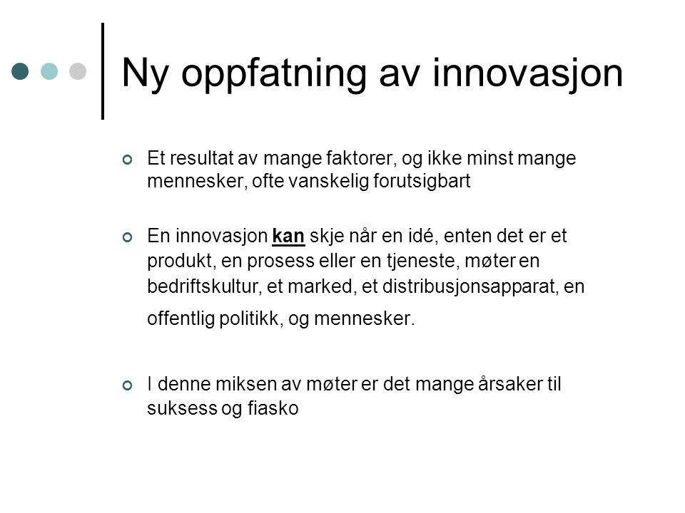 Ny oppfatning av innovasjon Et resultat av mange faktorer, og ikke minst mange mennesker, ofte vanskelig forutsigbart En innovasjon kan skje når en id