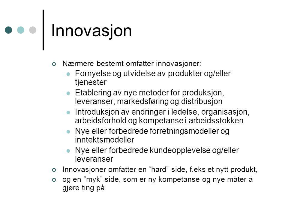 Innovasjon Nærmere bestemt omfatter innovasjoner: Fornyelse og utvidelse av produkter og/eller tjenester Etablering av nye metoder for produksjon, lev
