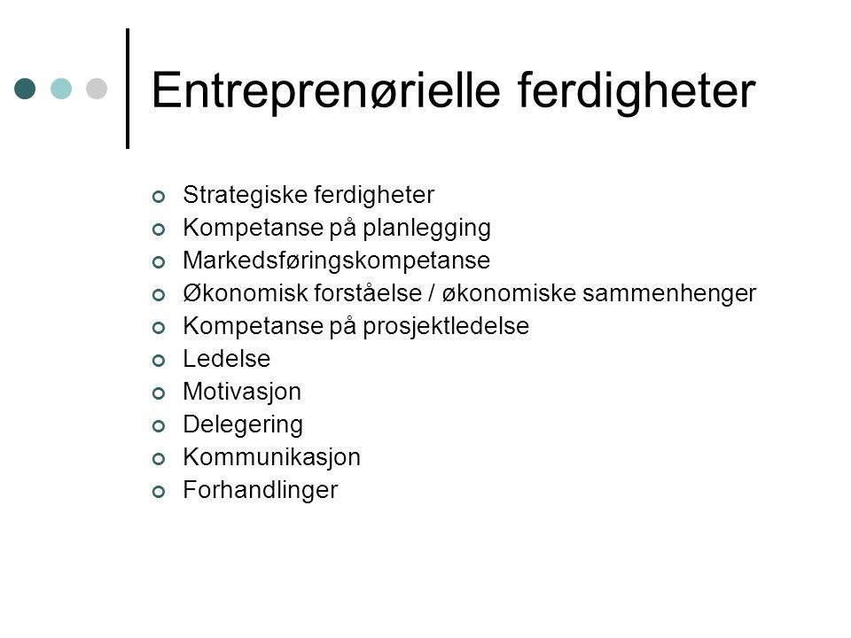 Entreprenørielle ferdigheter Strategiske ferdigheter Kompetanse på planlegging Markedsføringskompetanse Økonomisk forståelse / økonomiske sammenhenger